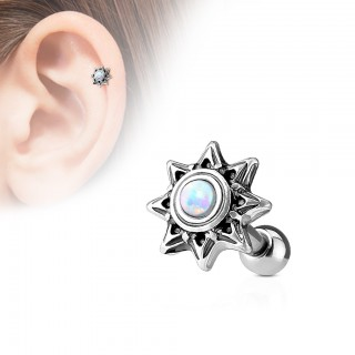 Tribal sunburst helix stud with coloured opal gem