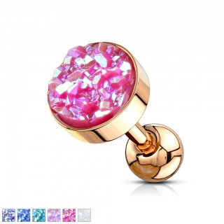 Rose gold ear piercing with coloured druse shaped stone