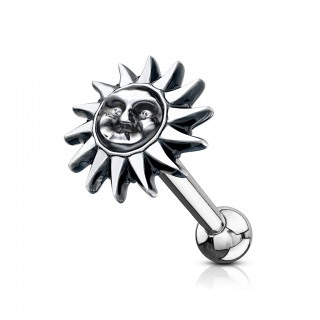 Ear piercing barbell with tribal sun