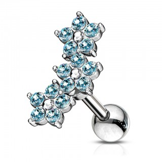 Triple tiered five jewel flower cluster cartilage piercing