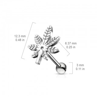 Ear piercing barbell with pot leaf as top