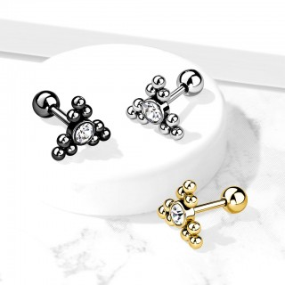 Ear Piercing Stud with clear gem and clustered balls