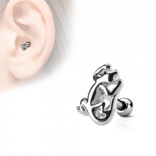 Silver tragus piercing with gecko