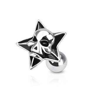 Ear piercing with skull in star