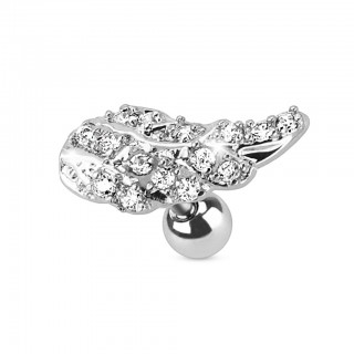 Ear piercing with clear crystal angel wing