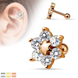 Gold helix piercing with flower of crystal and star in center