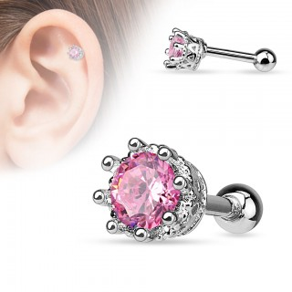 Helix piercing with crystal in crown