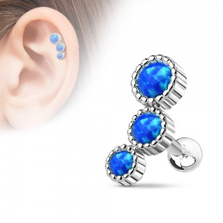 Cartilage stud with three cascading coloured opal gems
