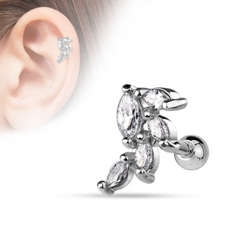 Ear piercing with vine of crystals