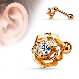 Helix piercing with rose and crystal