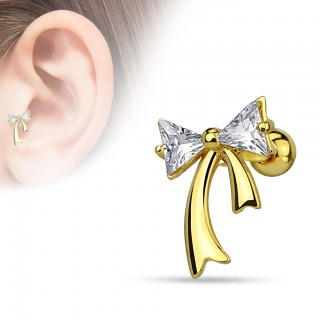 Tragus piercing with coloured crystal bow
