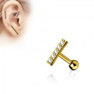 Earring with 9 mm long bar as top