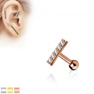 Ear piercing with 9 mm long bar as top
