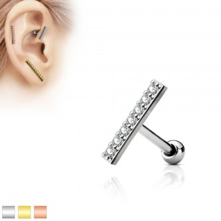 Ear piercing with 12 mm long bar as top