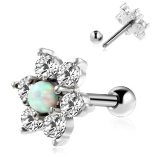 Tragus stud with flower of cyrstals and white opal