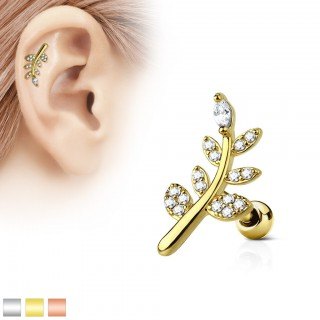 Helix piercing with clear diamonds on leafs