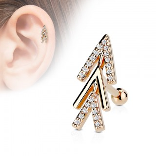 Helix piercing with chevron arrows and clear crystals