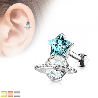 Ear stud with aqua star and clear cystal
