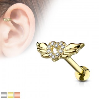 Barbell stud with crystal heart and wings
