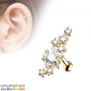 Coloured ear piercing stud with coloured stars