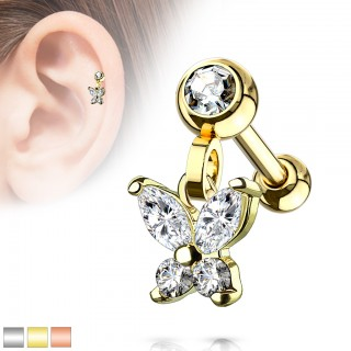 Coloured ear piercing with dangling butterfly and crystals