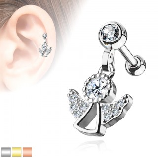 Coloured ear piercing with angel dangle and crystals