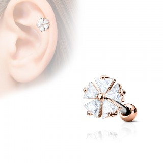 Ear piercing with clear crystals on triangle flower - Rose Gold
