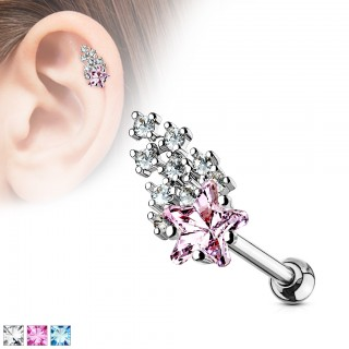 Ear piercings with coloured shooting star crystals