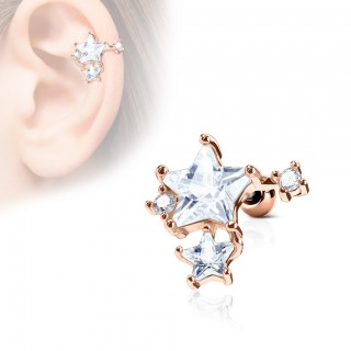 Cartilage stud with clumped star top