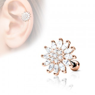 Clear jeweled floral cartilage stud