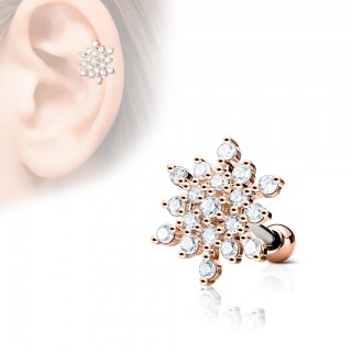 Cartilage stud with clear jeweled snowflake head