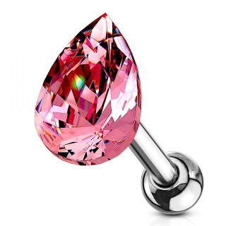 Barbell stud with coloured tear shaped crystal