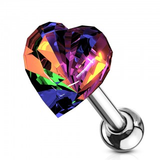 Cartilage ear stud with coloured crystal heart