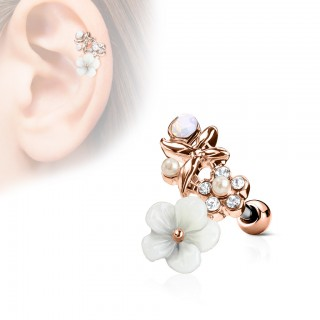 Multicoloured floral topped cartilage stud