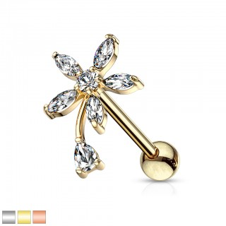 Round marquise clear crystal flower with pear stem cartilage stud