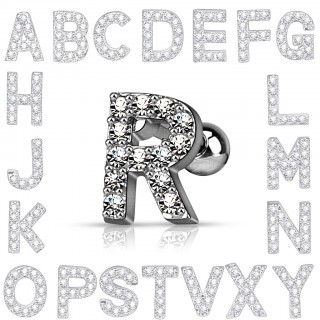 Tragus stud with crystalised personal letter - P