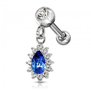 Ear piercing with tear drop shaped dangling crystal