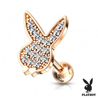 Playboy piercing with top of micro clear crystals