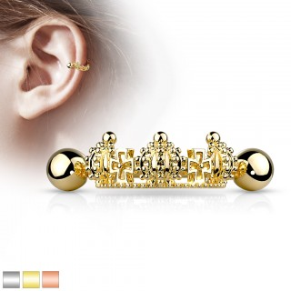 Coloured helix cuff shield piercing crown