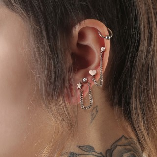 Cartilage chain with crystal barbell and triangle top barbell