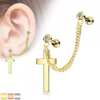 Double cartilage chain with cross and clear crystals