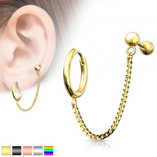 Coloured cartilage chain with click ring and barbell