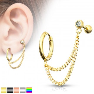 Surgical steel helix to tragus piercing chain