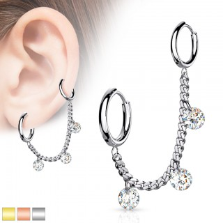 Cartilage chain with crystals and two click rings