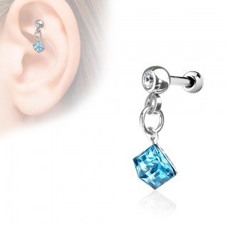 Cartilage studs with coloured dangling square jewel