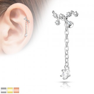 Dangling cartilage stud with long chain and star