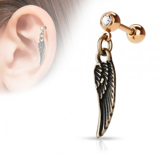 Cartilage piercing with angel wing dangle