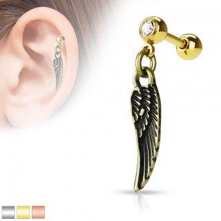 Dangling cartilage stud with angelic wings