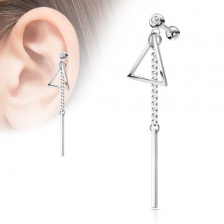 Ear cartilage piercing with dangle bar and triangle