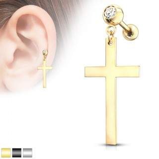 Cartilage piercing barbell with large cross dangle